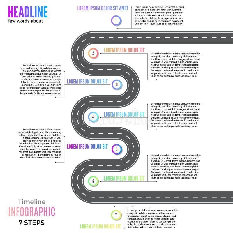 Van de het businessplannavigatie van informatie van de de lijnkaart van de de krommingsweg van de de manier infographic wegenkaar stock illustratie