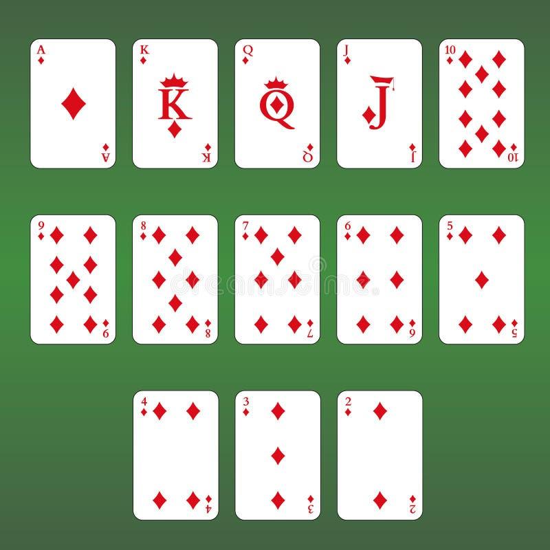 Van de het casinoflits van speelkaarten de koninklijke spades Reeks diamanten stock illustratie