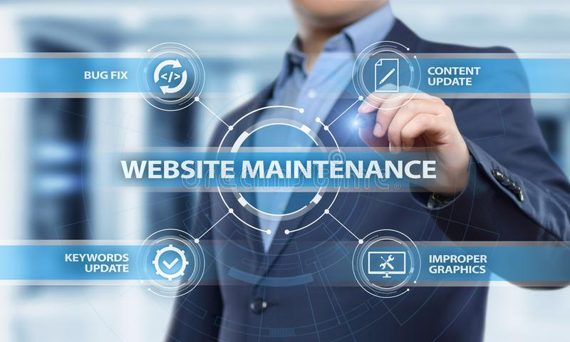 Van de het Commerciële van het websiteonderhoud het Concept Netwerktechnologie van Internet stock afbeelding
