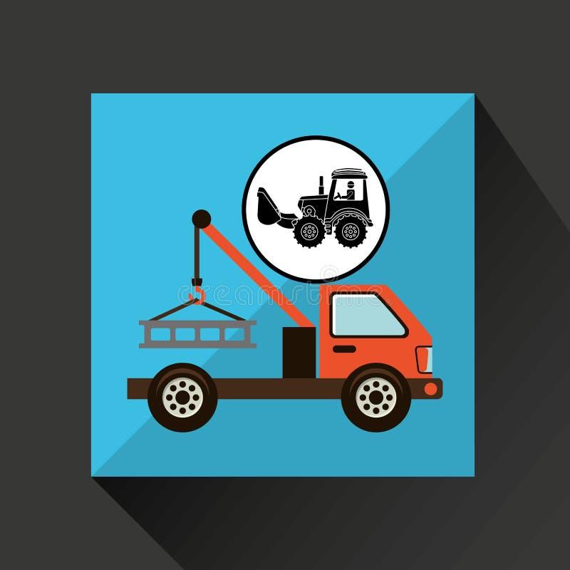 Van de het conceptenauto van de bouwvrachtwagen het slepenontwerp stock illustratie