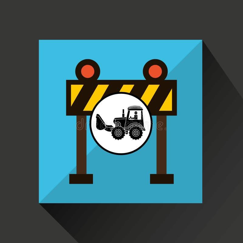 Van de het conceptenbarrière van de bouwvrachtwagen het lichte ontwerp vector illustratie