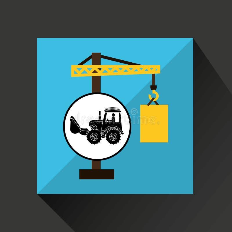 Van de het conceptenkraan van de bouwvrachtwagen het vatontwerp royalty-vrije illustratie