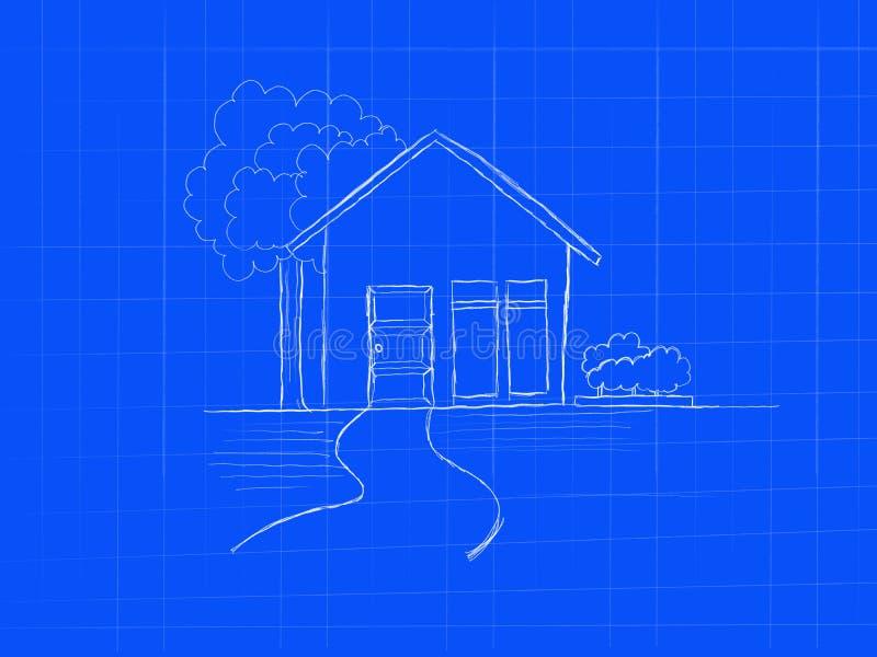 Van de het conceptenkrabbel van de huisblauwdruk de schets van de de kunsthand - beeldillustratie stock illustratie