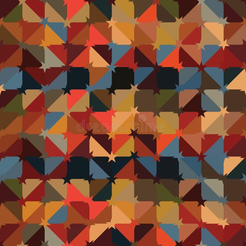 Van de het decorstijl van de driehoeksster de symmetrie naadloos patroon royalty-vrije illustratie