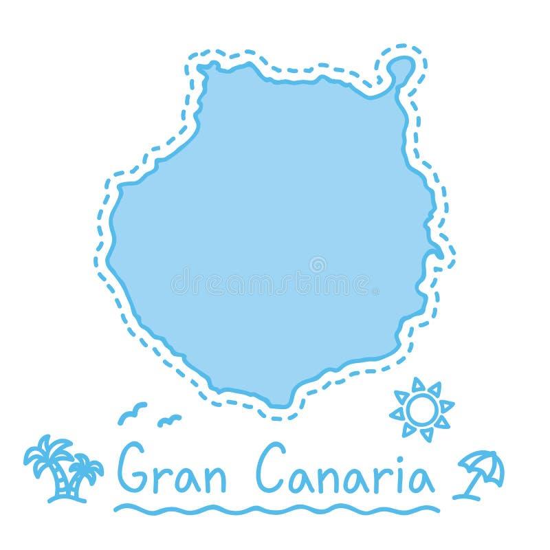 Van de het eilandkaart geïsoleerde cartografie van Gran Canaria het conceptenCanarische Eilanden stock illustratie