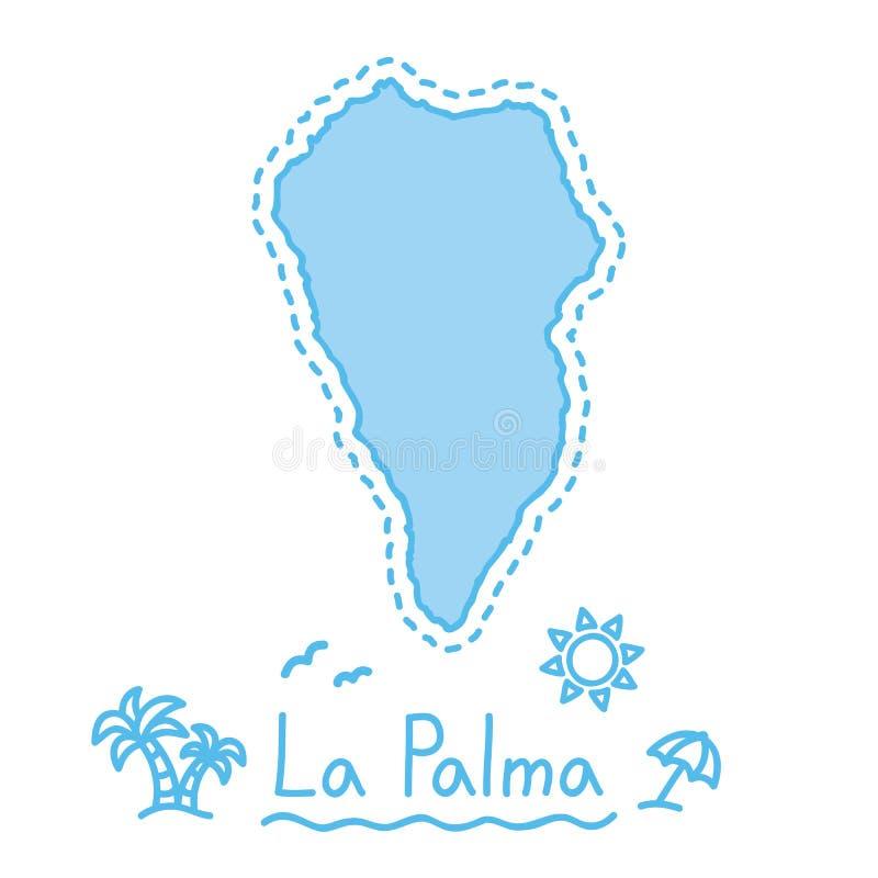 Van de het eilandkaart geïsoleerde cartografie van La Palma het conceptenCanarische Eilanden stock illustratie
