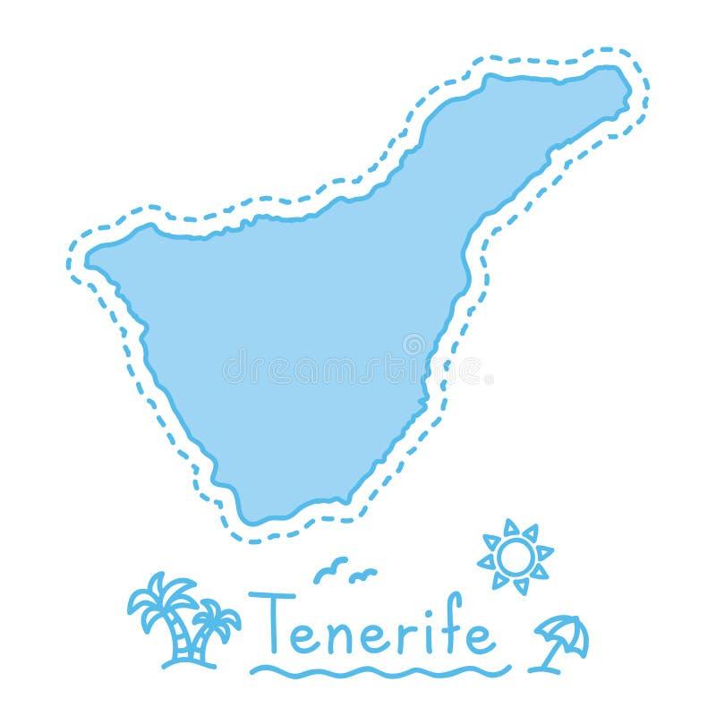 Van de het eilandkaart geïsoleerde cartografie van Tenerife het conceptenCanarische Eilanden royalty-vrije illustratie