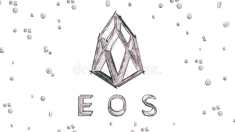 Van de het embleem 3D illustratie van Eoscryptocurrency de schetsstijl vector illustratie