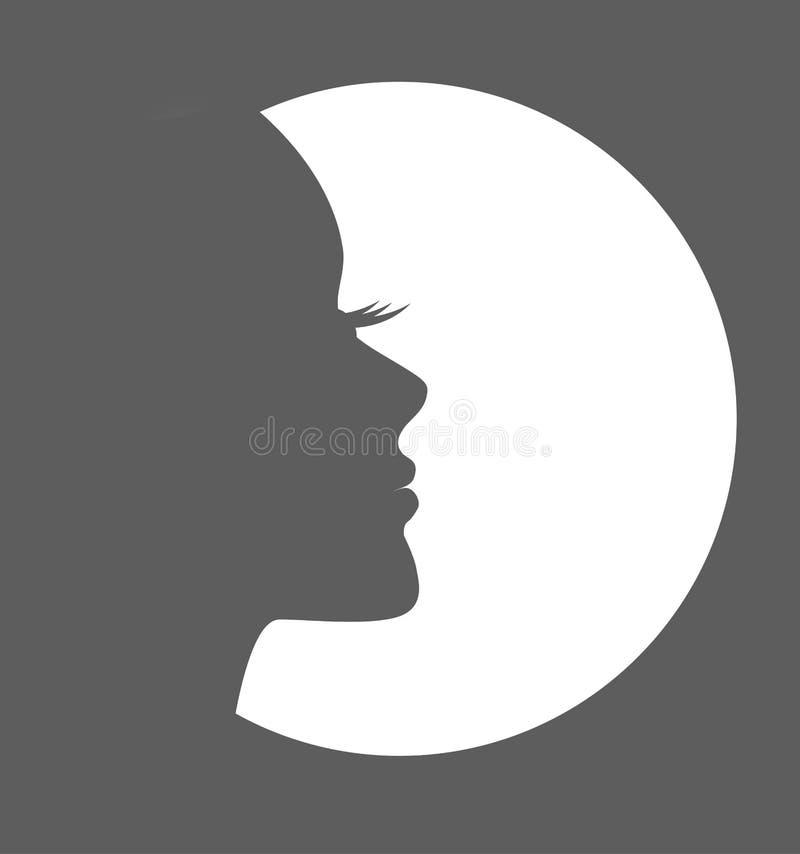 Van de het embleem grijs, Vectorvrouw van het meisjesgezicht het gezichtsprofiel, wit, schaduwpictogram vector illustratie