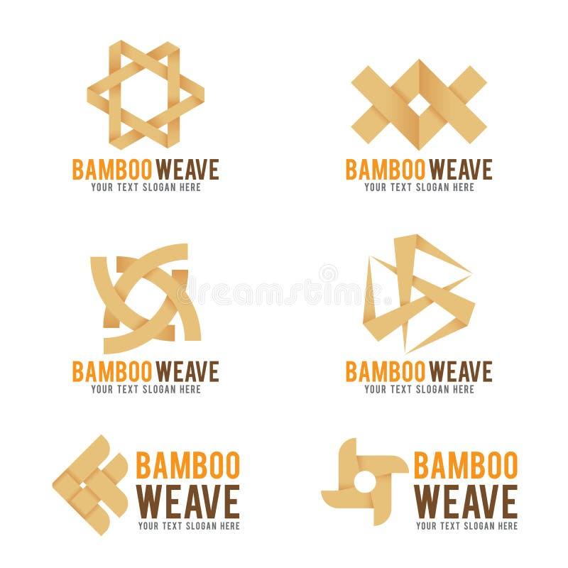 Van de het embleem het vectorillustratie van het bamboeweefsel vastgestelde ontwerp royalty-vrije illustratie