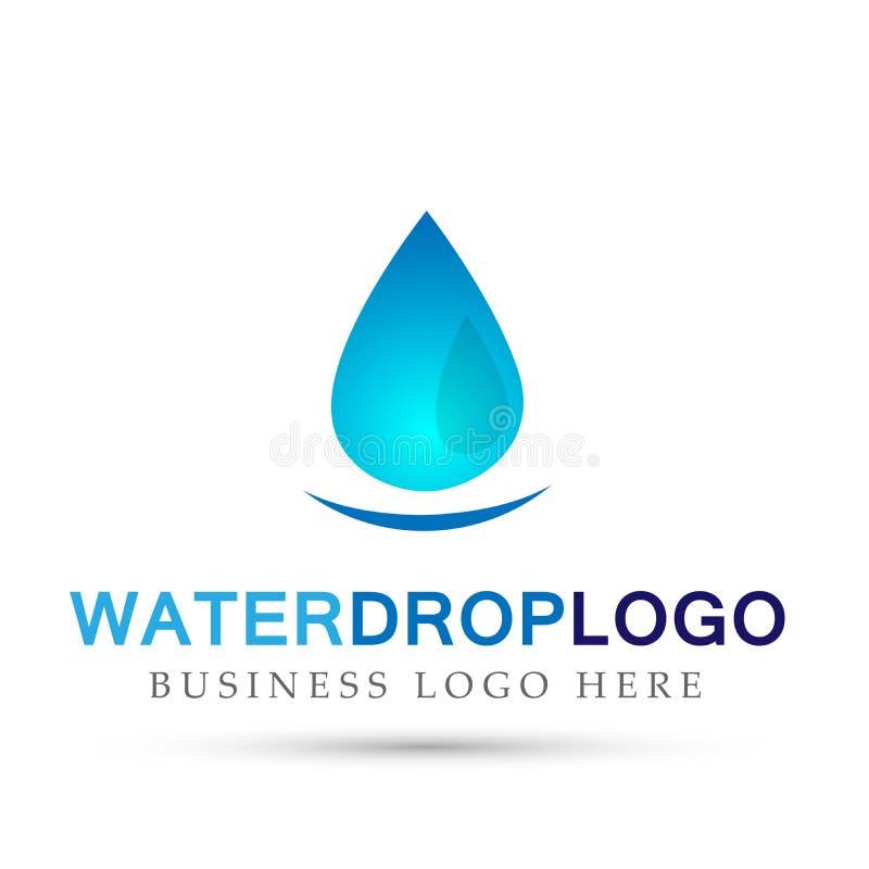 Van de het embleemhand van de waterdaling van de de zorgtuin van het de aard ontwerpen de gezonde en zuivere zoet water het symbo stock illustratie