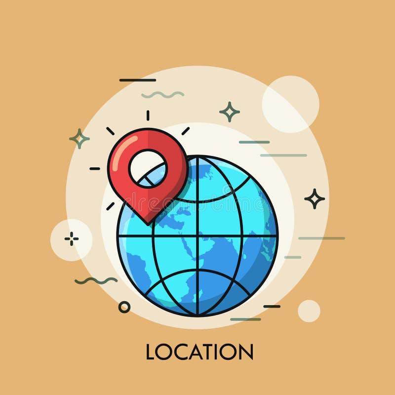 Van de het embleemlijn van het plaatspictogram het vlakke ontwerp Vector illustratie stock illustratie