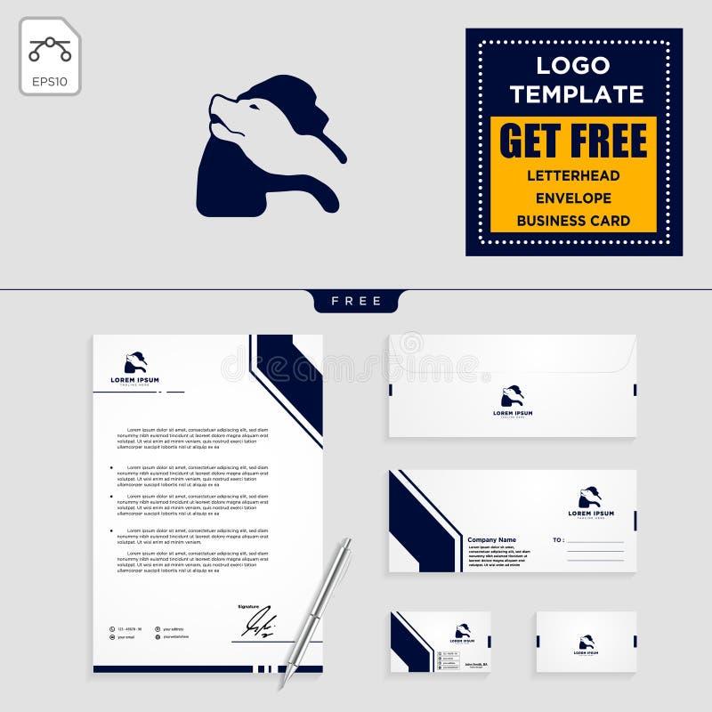 van de het embleemmalplaatje en kantoorbehoeften van de hondzorg ontwerp stock illustratie