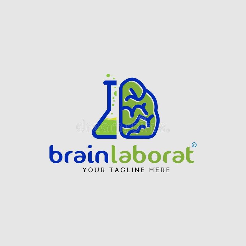 Van de het embleemontwerpsjabloon van het hersenenlaboratorium de combinatiepictogram vector illustratie