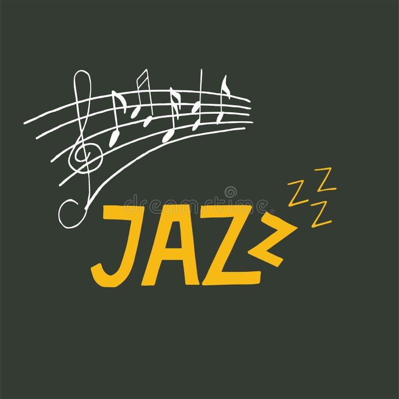 Van de het festivalbanner van de jazzmuziek de afficheillustratie met g-sleutel en nota's vector illustratie