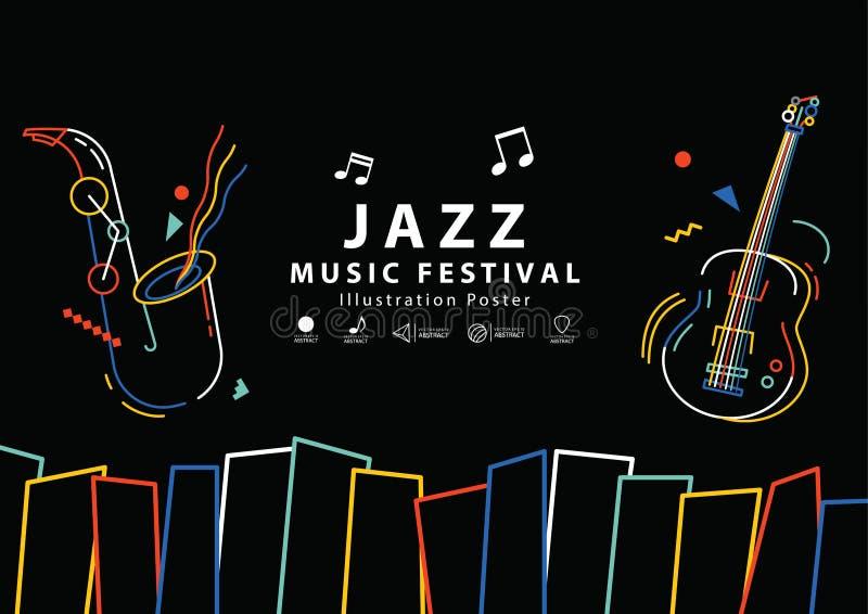 Van de het festivalbanner van de jazzmuziek de vector van de de affichea4 illustratie royalty-vrije illustratie