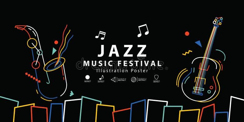 Van de het festivalbanner van de jazzmuziek de vector van de de afficheillustratie Backgroun vector illustratie