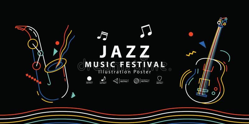 Van de het festivalbanner van de jazzmuziek de vector van de de afficheillustratie De muziek bedriegt royalty-vrije illustratie