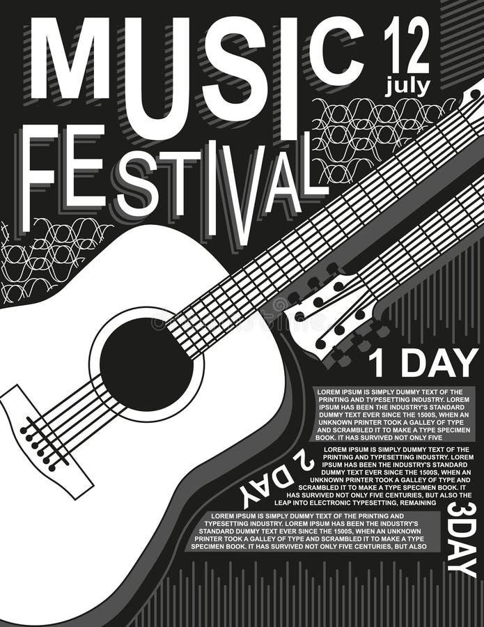 Van de het festivalrots van de affichemuziek van de de gitaar zwarte witte vectorillustratie van de de Muziekaffiche van het de v vector illustratie