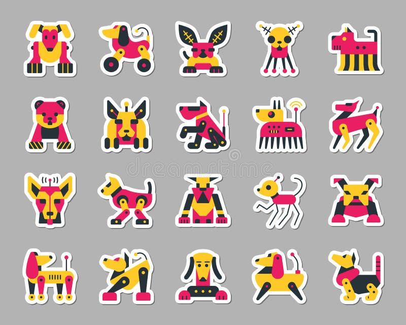Van de het flardsticker van de robothond de pictogrammen vectorreeks vector illustratie