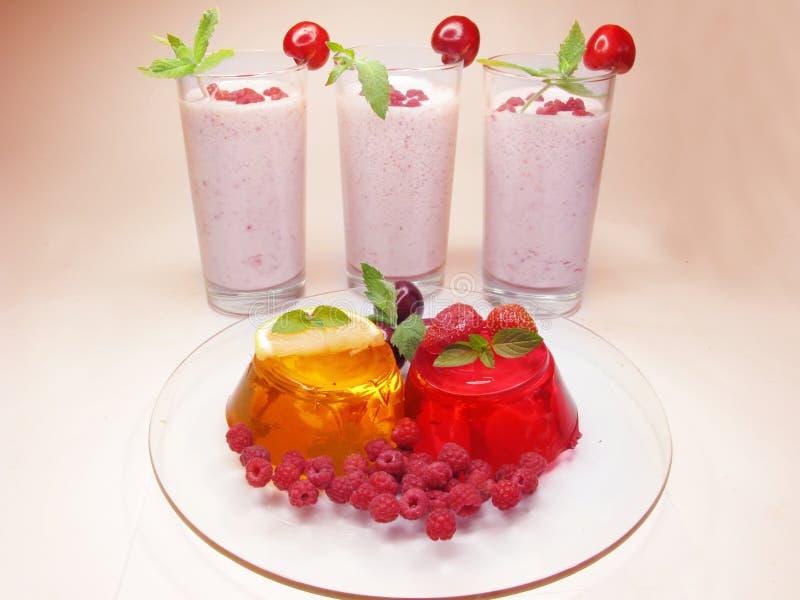 Van de het fruitdessert en alcohol van de gelei cocktails stock afbeelding