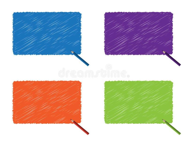 Van de het gekrabbelkleur van Grunge potlood v stock illustratie