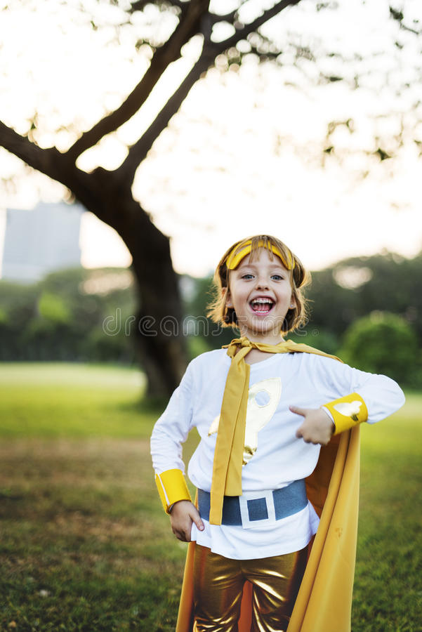 Van de het Gelukpret van het Superheromeisje het Leuke Speelse Concept royalty-vrije stock foto's