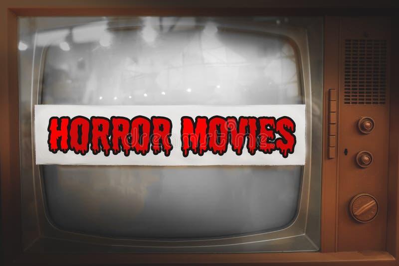 Van de het genretelevisie van verschrikkingsfilms retro wijnoogst van de het etiket de oude teletekst royalty-vrije stock fotografie