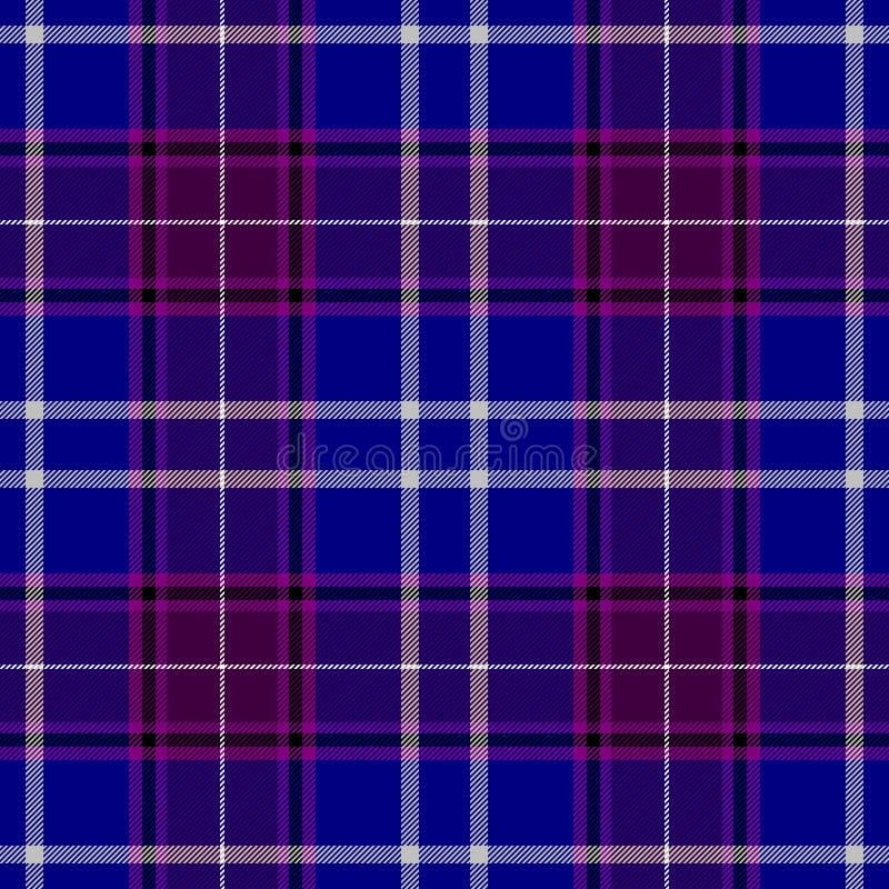 Van de het geruite Schots wollen stofplaid van de controlediamant achtergrond van de de stoffen de naadloze textuur - blauwe, pur stock illustratie
