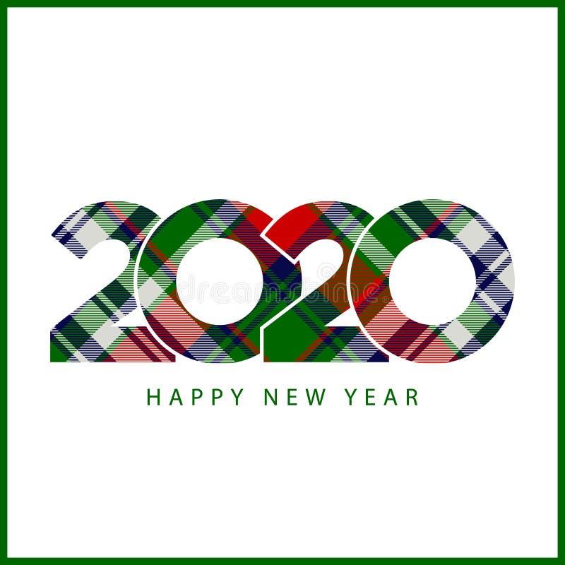 Van de het geruite Schots wollen stofstijl 2020 van de controleplaid van de het jaargift gelukkig nieuw de kaart creatief ontwerp stock illustratie