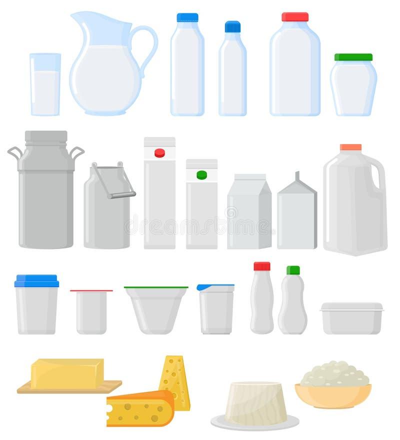Van de het glaskruik van het melkpak de vector lege van het glaswerk lege zuivelproducten van het de kaaspakket reeks van het de  royalty-vrije illustratie