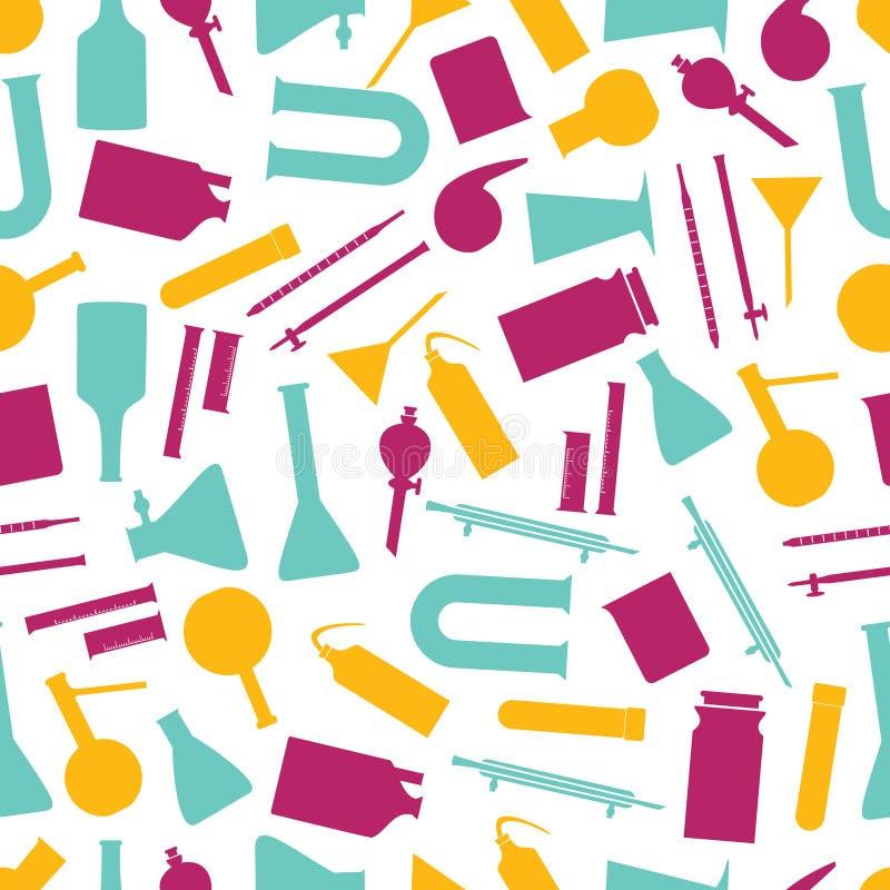 Van de het glaswerkkleur van het chemielaboratorium het patroon eps10 royalty-vrije illustratie