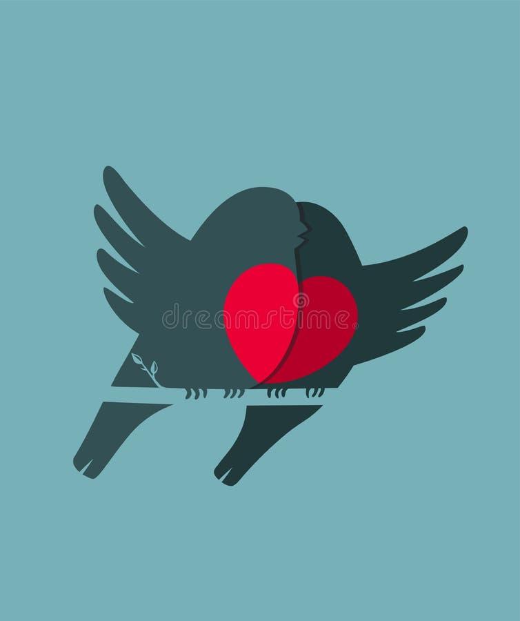 Van de het Hartliefde van goudvinkvogels het Paarzitting op Takje royalty-vrije illustratie