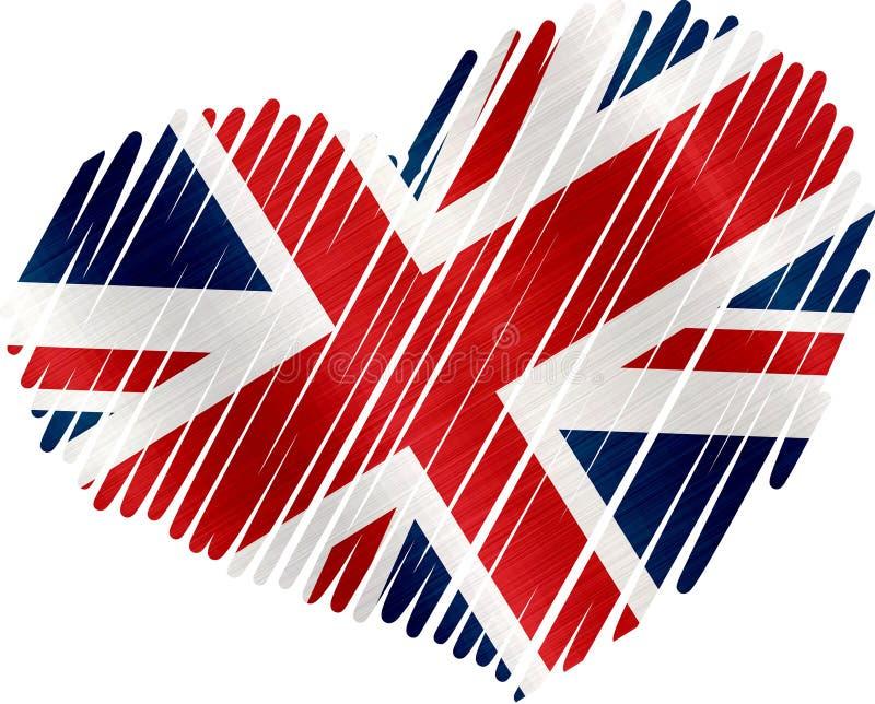 Van de het hartvlag van het Verenigd Koninkrijk het metaaltextuur stock illustratie