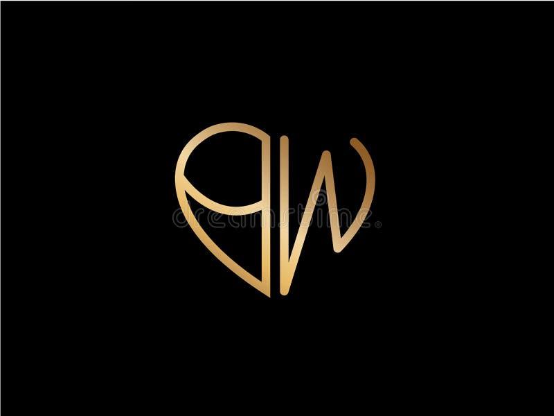 Van de het hartvorm van BW het aanvankelijke gekleurde embleem Goud vector illustratie