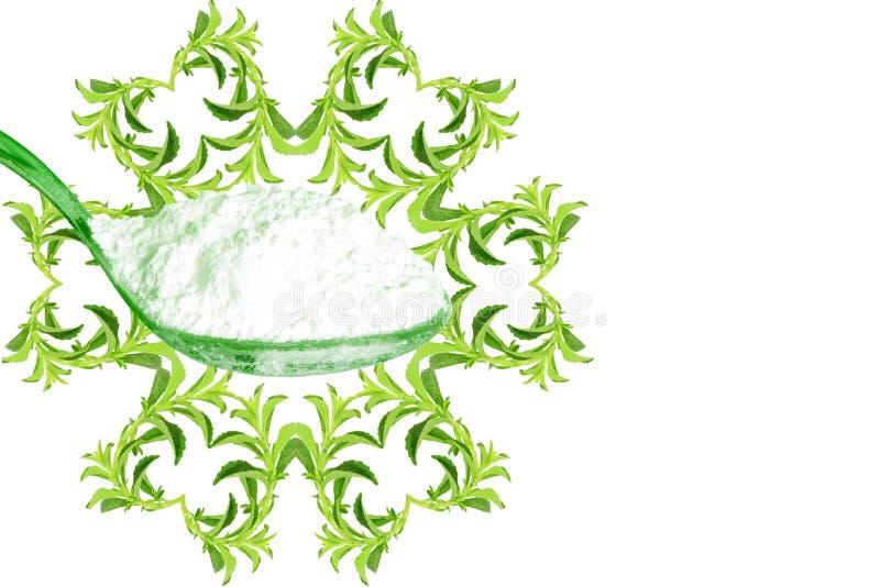 Van de het hartvorm van het suikersubstituut de installatie van Stevia en uittrekselpoeder op witte achtergrond stock illustratie
