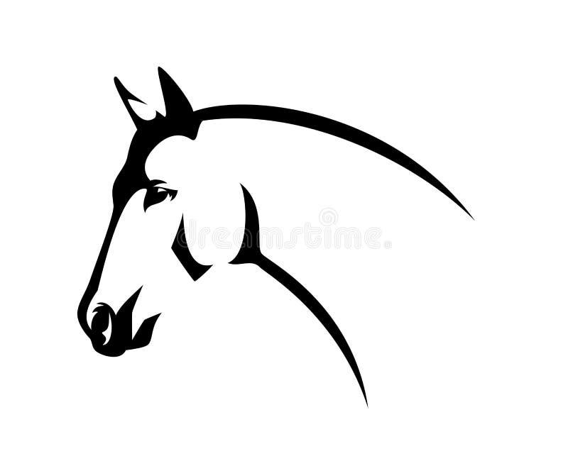 Van de het hoofd het zwarte lijn van het profielpaard vectorontwerp royalty-vrije illustratie