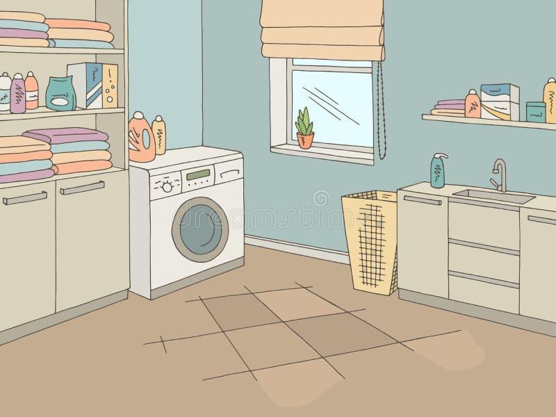 Van de het huis de binnenlandse grafische kleur van de wasserijruimte vector van de de schetsillustratie stock illustratie