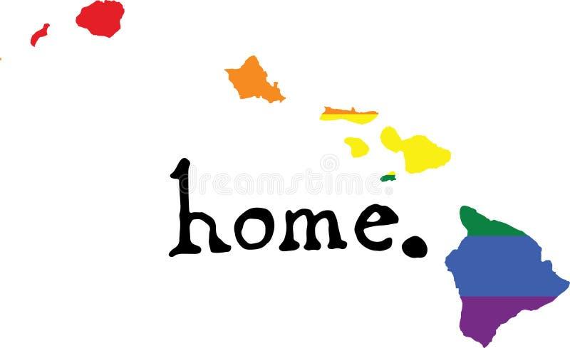Van de het huis het vrolijke trots van Hawaï teken van de staat vector stock illustratie