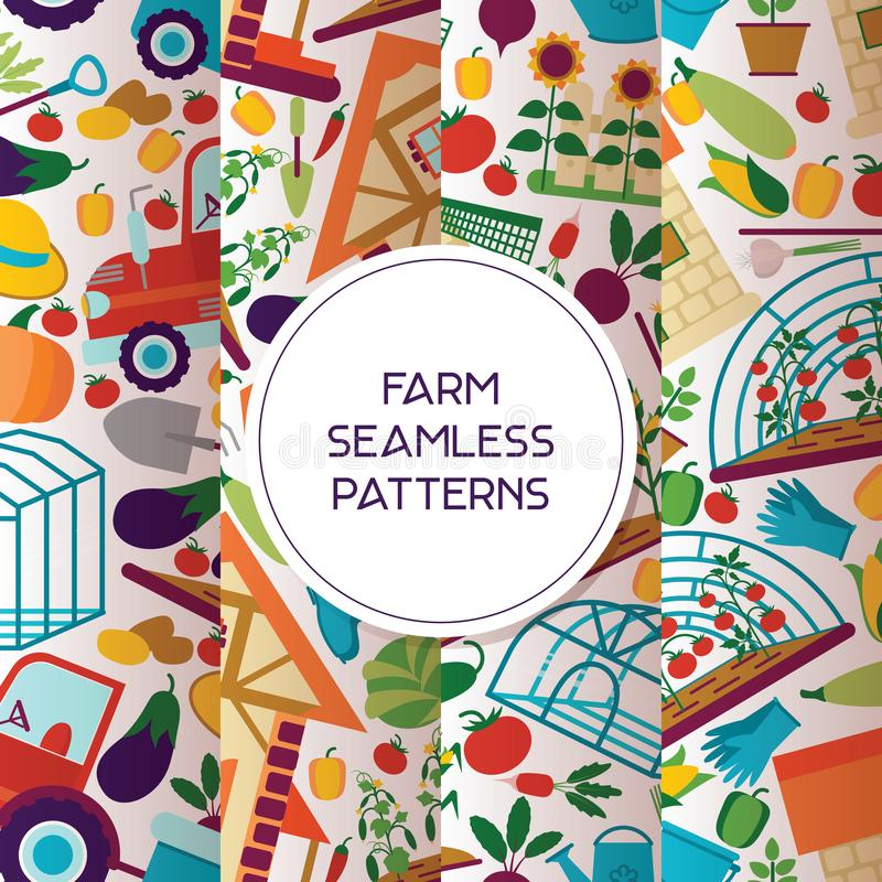 Van de het huis tuinierende achtergrond van het landbouwbedrijf het naadloze patroon vector landbouw de landbouwersman natuurlijk royalty-vrije illustratie