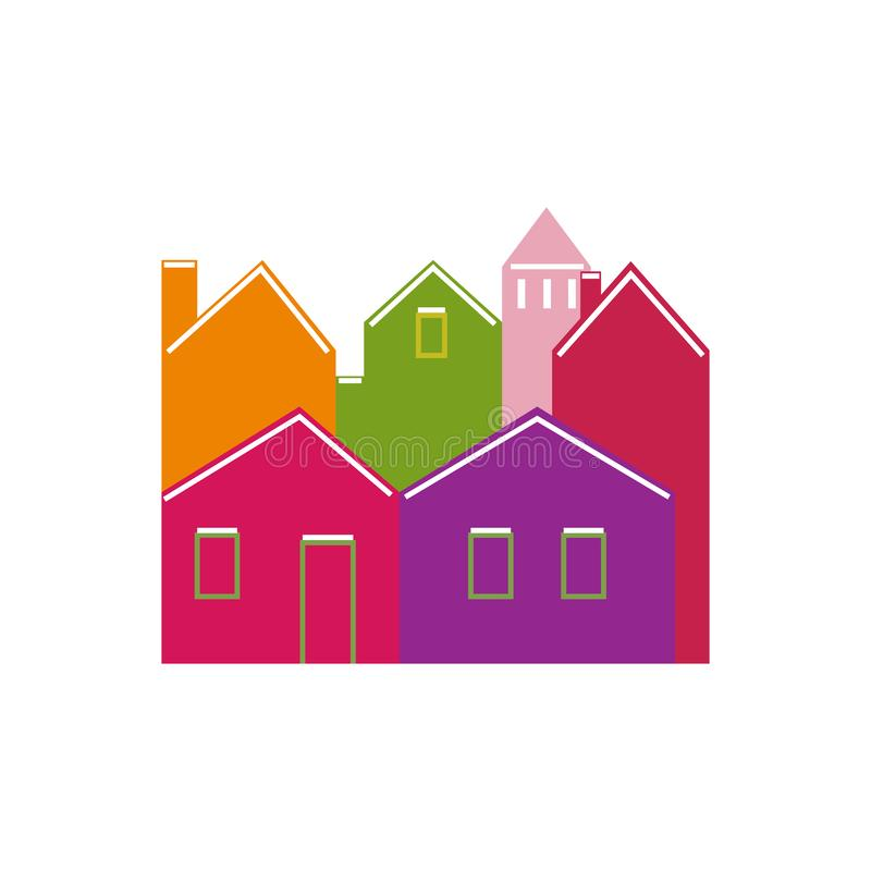 Van de het Huisarchitectuur van Front Pattern Background Different Types van beeldverhaalhuizen de Buitenstijl van het het Concep royalty-vrije illustratie