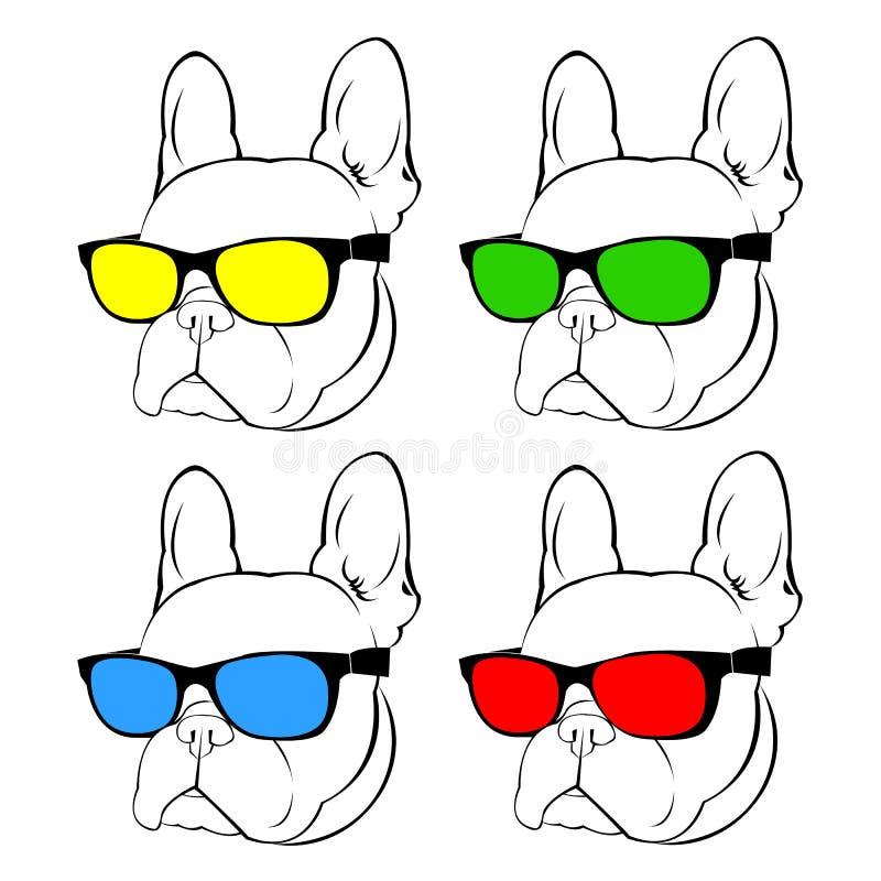 Van de het huisdierbuldog van het hond het vectorras leuke vectorras frenchdog stock illustratie