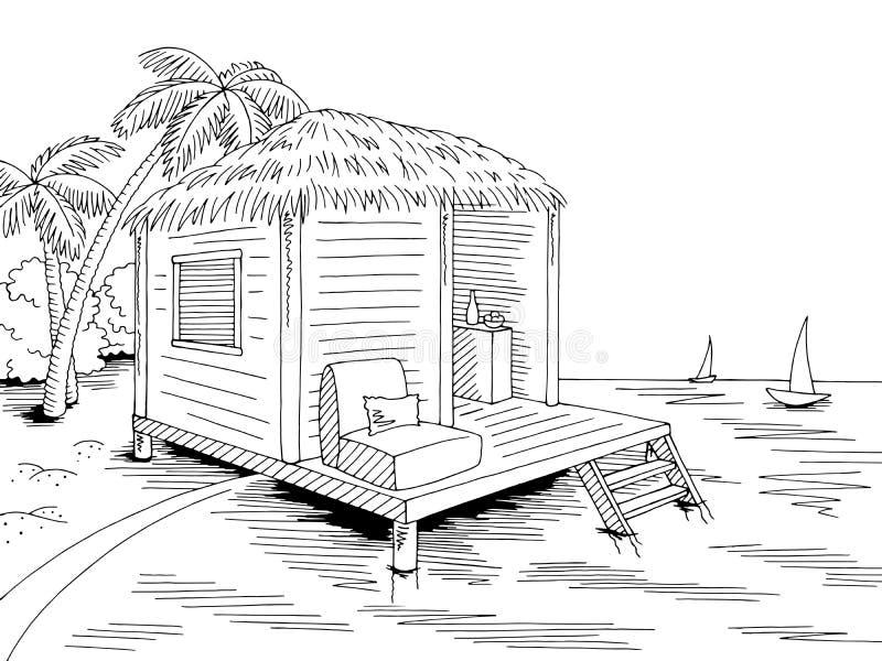 Van de het huiskust van de bungalowhut het strand grafische zwarte witte van de overzeese de illustratievector landschapsschets stock illustratie