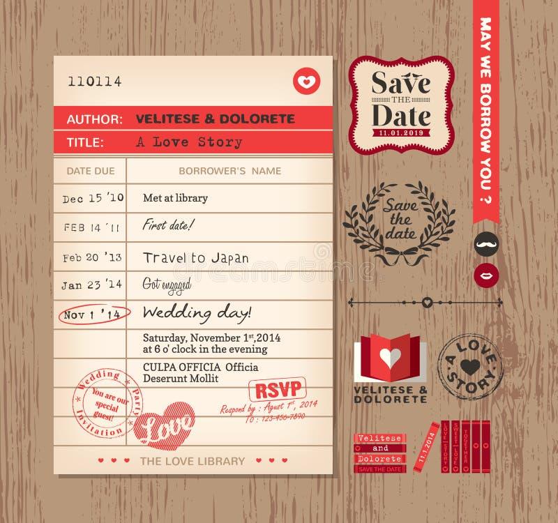Van de het Huwelijksuitnodiging van de bibliotheekkaart het ontwerpachtergrond stock illustratie