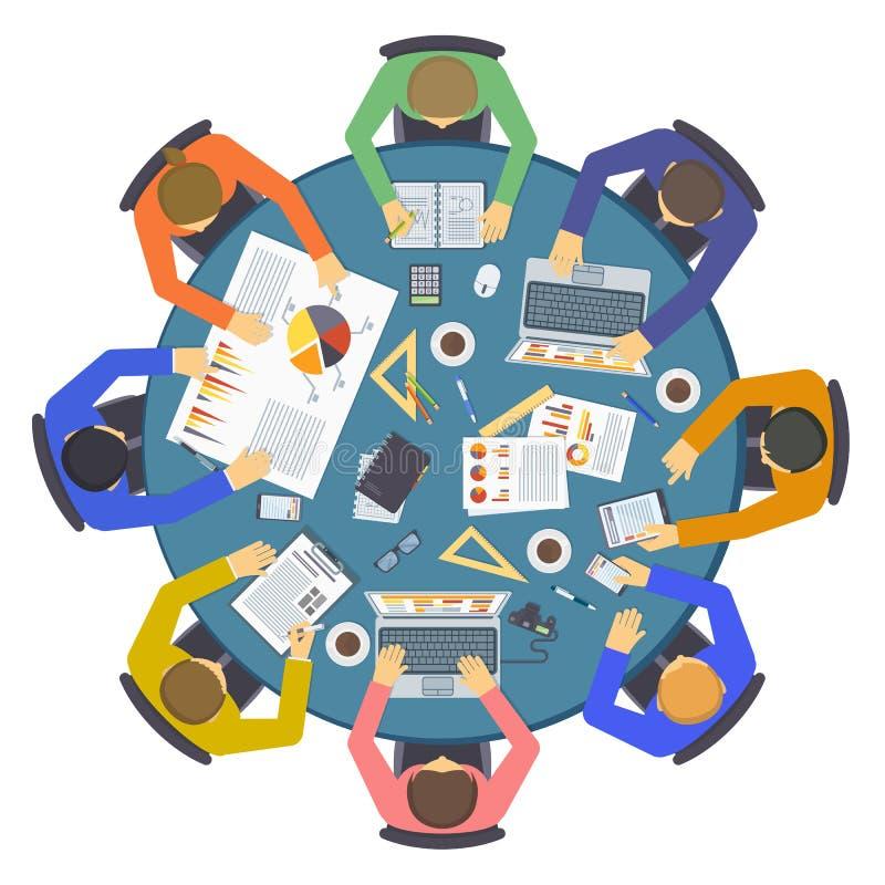Van de het ideebespreking van het brainstormings de creatieve team vector van het de mensen vlakke infographic concept stock illustratie