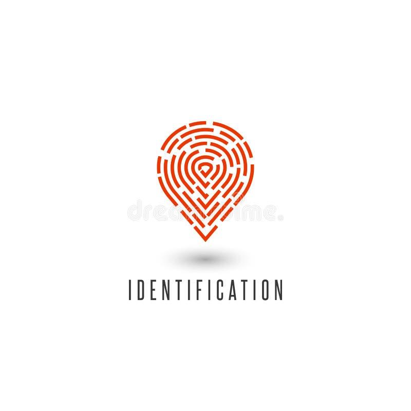 Van de het ideedetective van de identificatie persoonlijk vingerafdruk creatief het agentschapembleem, gps het pictogram van de n royalty-vrije illustratie