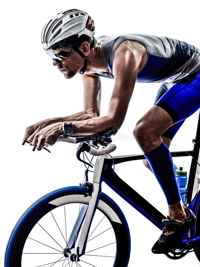 Van de het ijzermens van het mensentriatlon de atletenfietser het bicycling stock foto