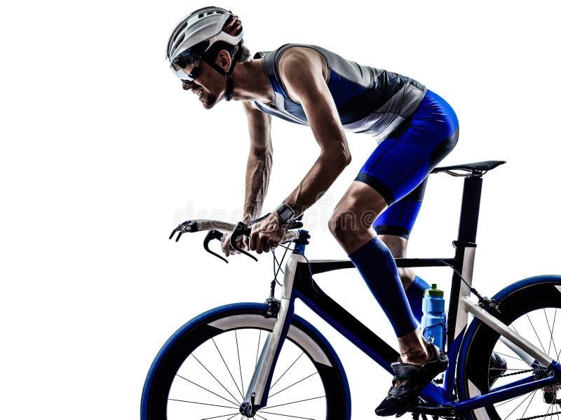 Van de het ijzermens van het mensentriatlon de atletenfietser het bicycling royalty-vrije stock foto