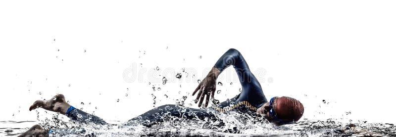 Van de het ijzermens van het mensentriatlon de atletenzwemmers het zwemmen royalty-vrije stock foto's