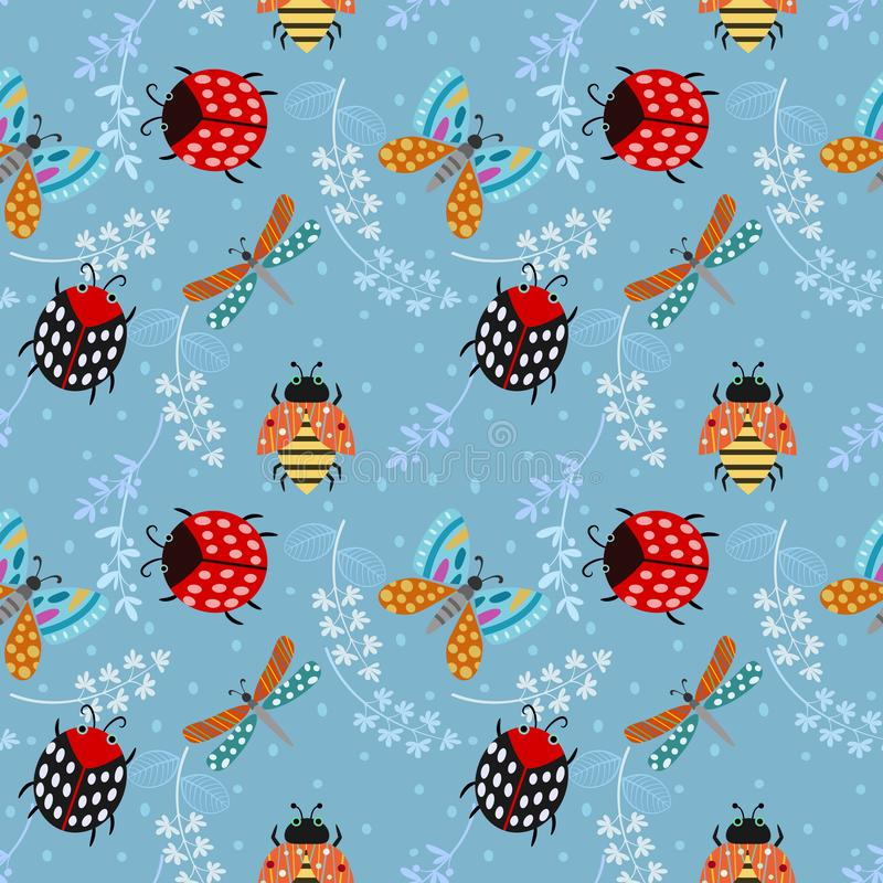 Van de het insectenvlinder van de insectdame naadloze het patroonachtergrond royalty-vrije illustratie